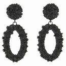 Fashionable earrings oval, black