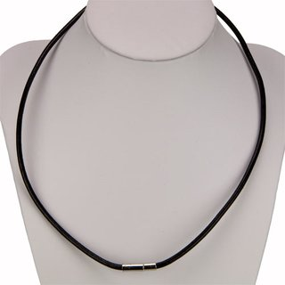 Necklace leather with plug clasp, 2.0mm, black